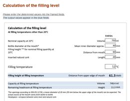 calculation of the filling level